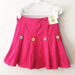 Gymboree Pink Mini Corduroy Pleated Skirt 3 New